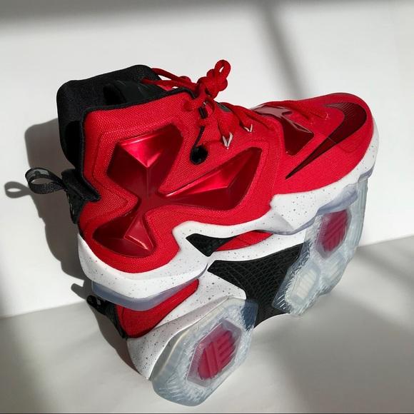 d5d46e735fa Nike Men s Lebron XIII Basketball RED WHITE BLACK